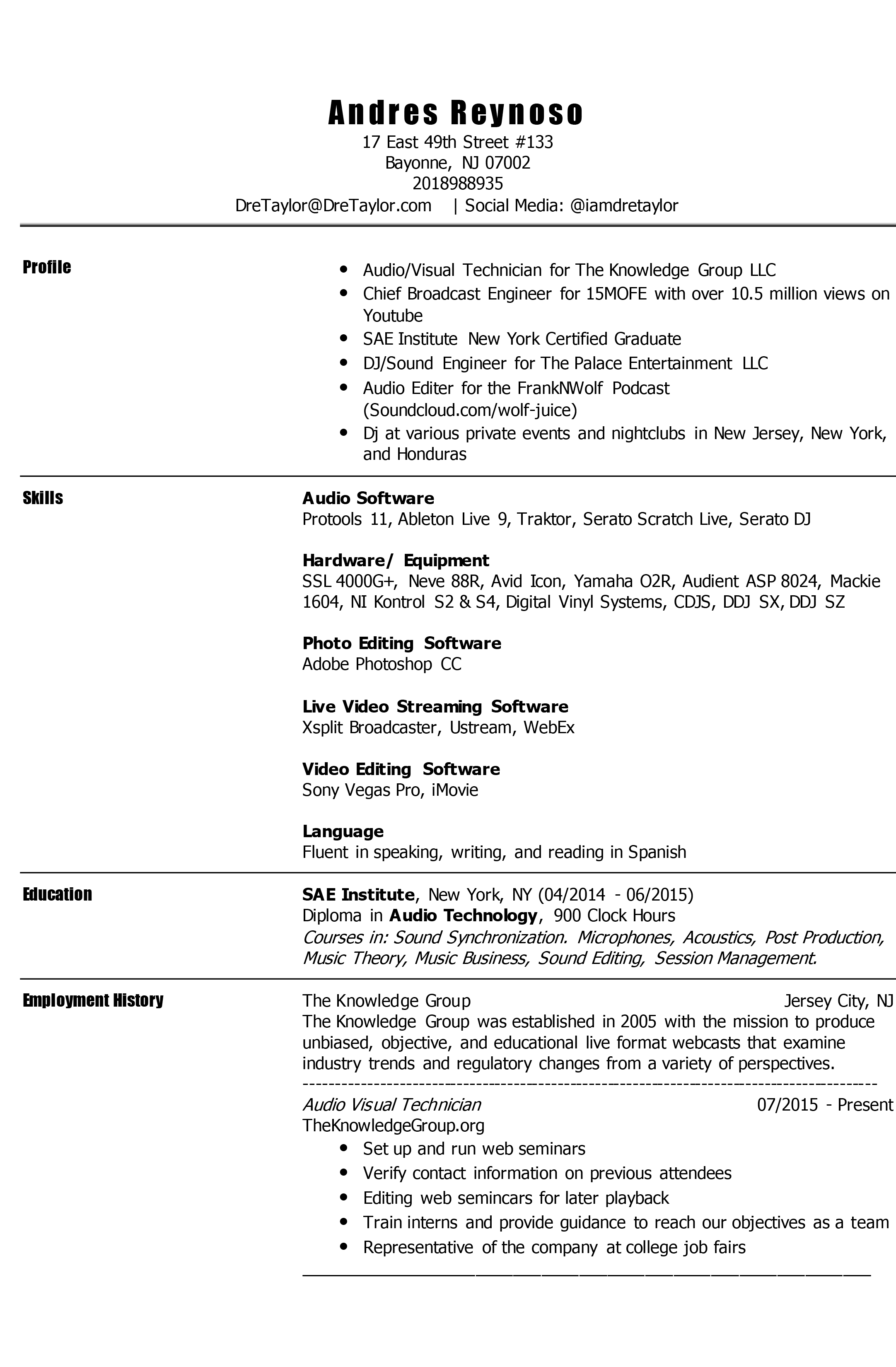 Audio Visual Resume. resume. interesting assistant manager and ...